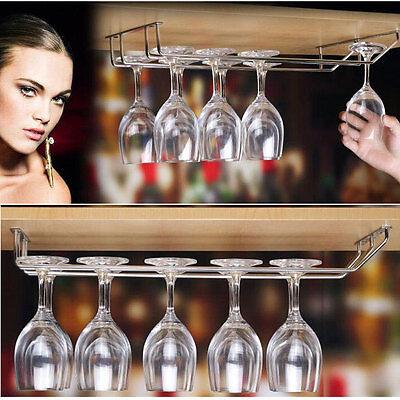 1/2/3 Rows Wine Glass Under Cabinet Rack Holder Shelf Hanger Stemware Bar Dining