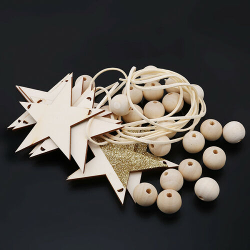 Nordic Wooden Bead Hanging Tassel Stars Children's Decor Ornament LH 11
