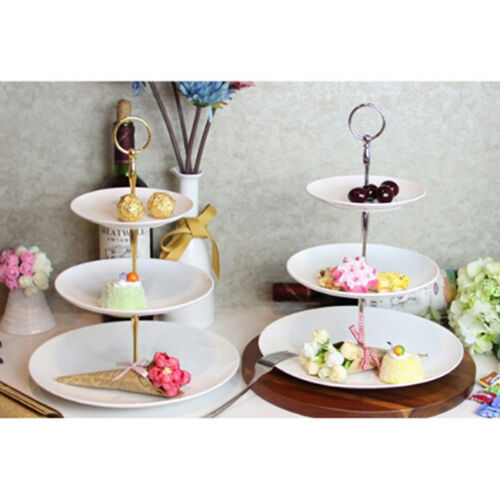 JN/_ 2//3 Tier Hardware Crown Metal Cupcake Cake Plate Stand Handle Fitting Part