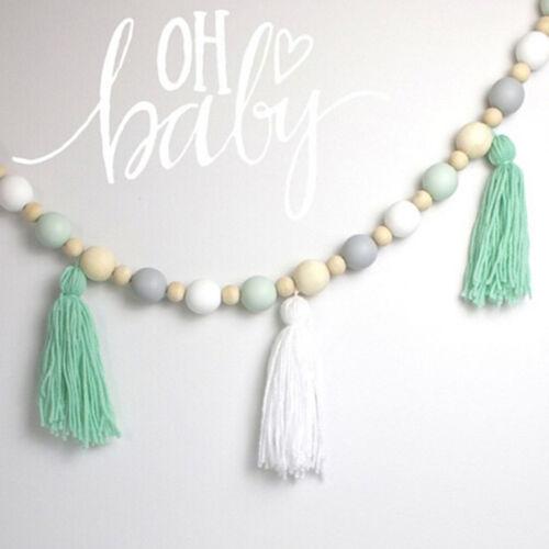 Nordic Style Wooden Beads Tassels Hanging Decorative Children's Room Decor LH 3