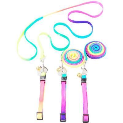 Adjustable Pet Small Dog Puppy Cat Kitten Harness Rainbow Collar Leash Lead New