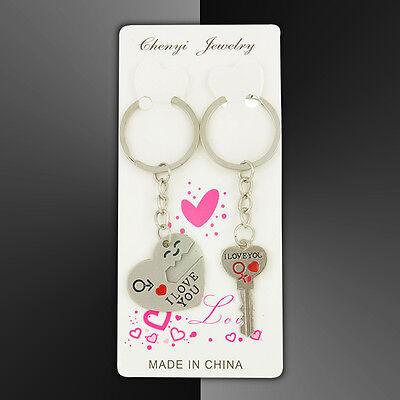 Romantic Couple Keychain Keyring Keyfob Valentine's Day Lover Gift Heart Key Set 11
