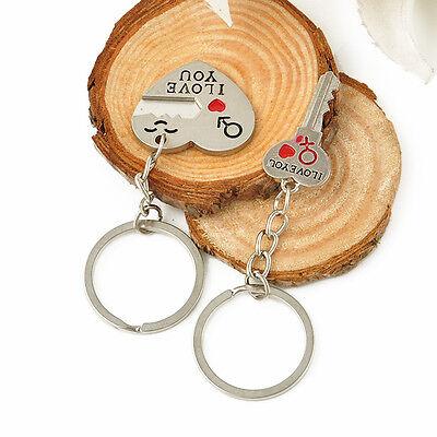 Romantic Couple Keychain Keyring Keyfob Valentine's Day Lover Gift Heart Key Set 5
