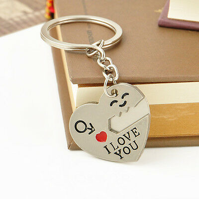 Romantic Couple Keychain Keyring Keyfob Valentine's Day Lover Gift Heart Key Set 8