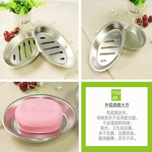 Shower Strong Stainless Steel Soap Dish Soap Box Tray with Drain Soap Holder LE