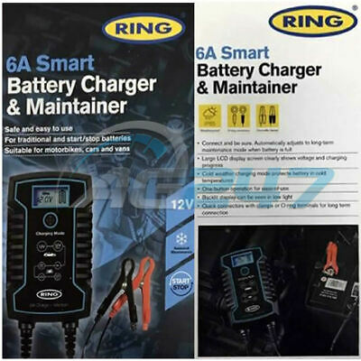 Ring RSC806 12v 6A Car Motorbikes Maintenance Start/Stop Smart Battery Charger 4
