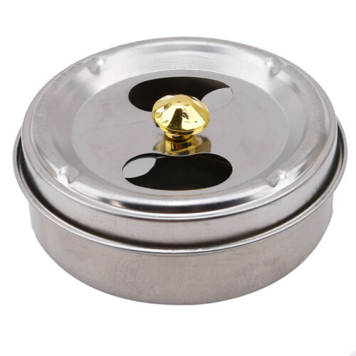 Stainless Steel Round Ashtray With Lid Cigarette Smoking Ash Holder Home YU 5
