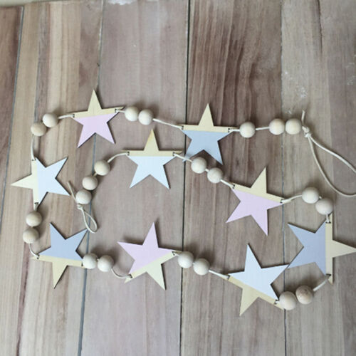 Nordic Wooden Bead Hanging Tassel Stars Children's Decor Ornament LH 3
