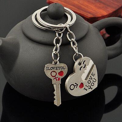 Romantic Couple Keychain Keyring Keyfob Valentine's Day Lover Gift Heart Key Set 3
