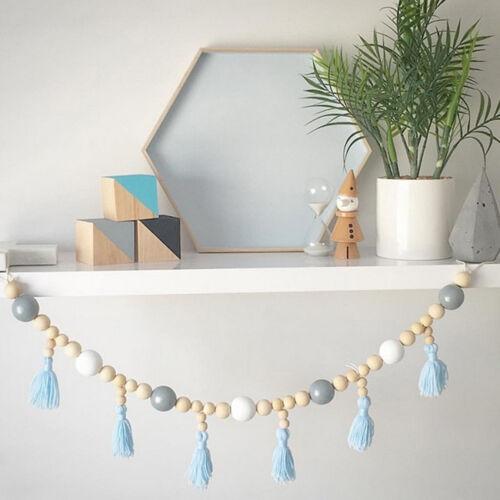 Nordic Style Wooden Beads Tassels Hanging Decorative Children's Room Decor LH 2