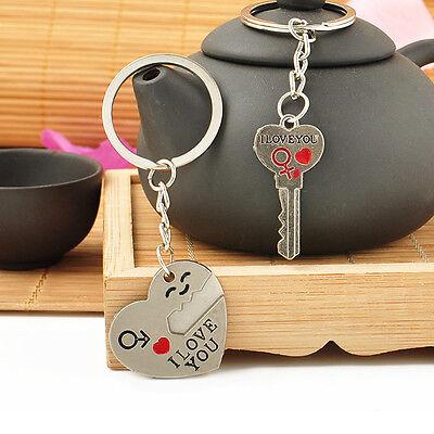 Romantic Couple Keychain Keyring Keyfob Valentine's Day Lover Gift Heart Key Set 4