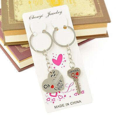 Romantic Couple Keychain Keyring Keyfob Valentine's Day Lover Gift Heart Key Set 10
