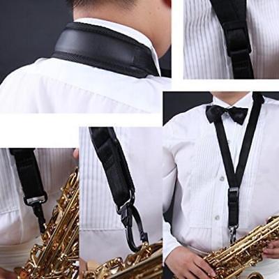 Black Adjustable Saxophone Strap Padded Neck Sling For Alto Tenor Clarinet GR 3