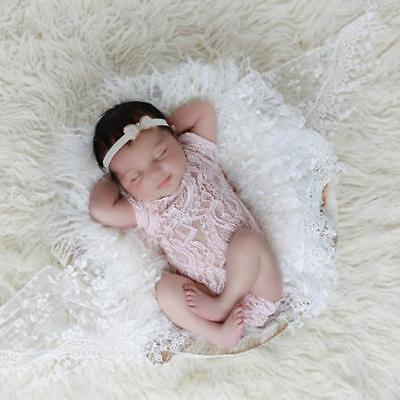 Newborn Baby Infant Girl Lace Floral Romper Bodysuit Photography Photo Prop LG