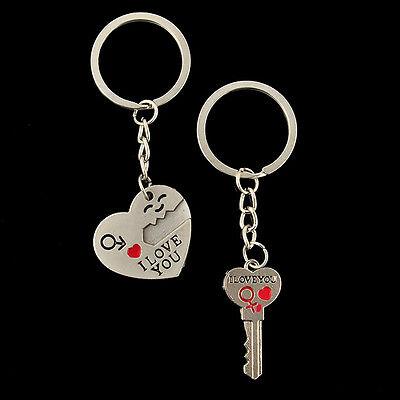 Romantic Couple Keychain Keyring Keyfob Valentine's Day Lover Gift Heart Key Set 7