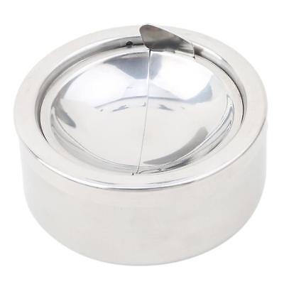 Round Stainless Steel Cigarette Lidded Ashtray Silver w/Windproof Lid Cover MA 2