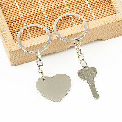 Romantic Couple Keychain Keyring Keyfob Valentine's Day Lover Gift Heart Key Set 12