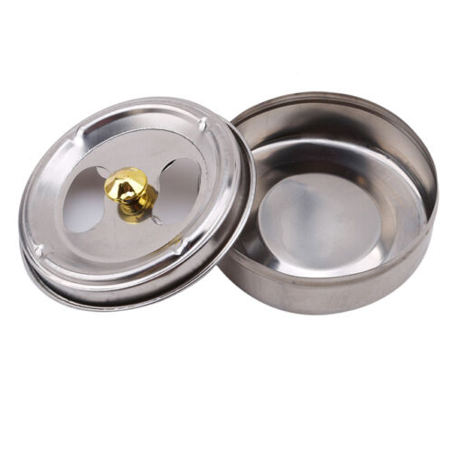 Stainless Steel Round Ashtray With Lid Cigarette Smoking Ash Holder Home YU 2