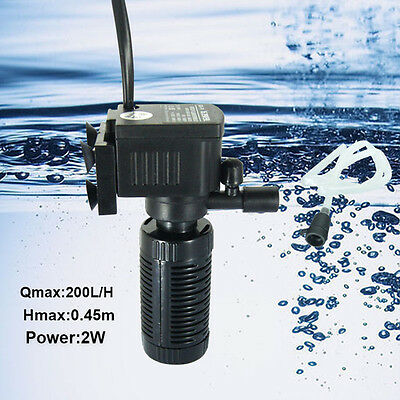 2W 200L/H Eco Aquarium Poisson Pompe 200l/h Powerhead Fontaine Eau Hydroponique 3