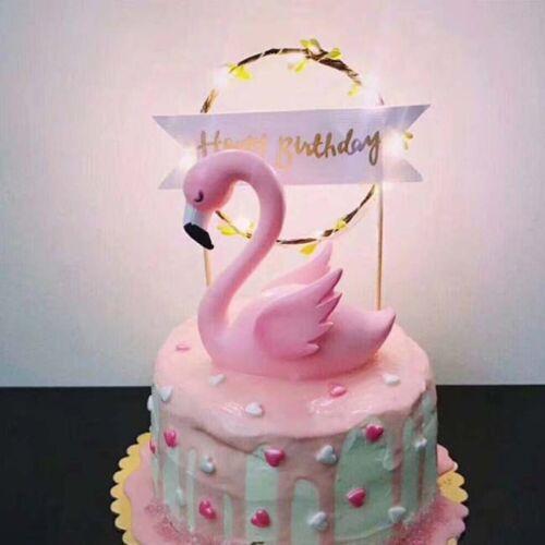 15Pcs Flamingo Swan Cupcake Cake Toppers Picks Birthday//Wedding Party UK