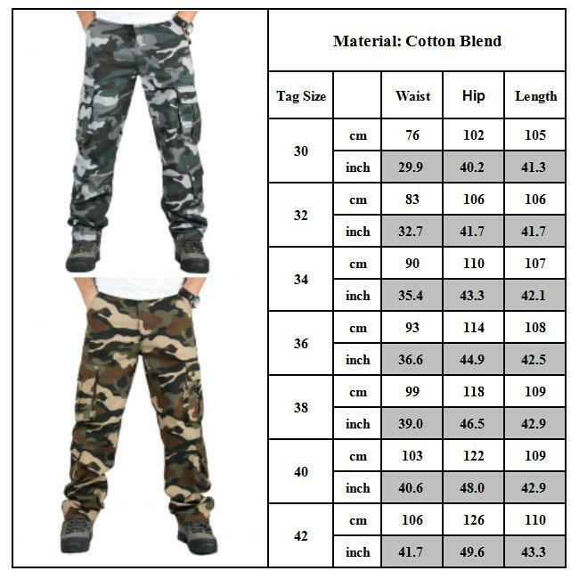 Mens Combat Cargo Trousers Work Tactical Military Army Camo Chino Long Pants AU 11