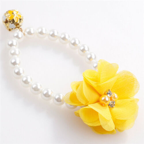 Fashion Adjustable Pet Cat Dog Collar Bling Pearl Big Flower Necklace Supplies W