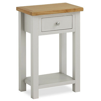 ... Farrow Painted Hall Table With Oak Top / Grey Painted Small Console  Table / New