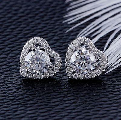 3.20Ct Round Cut Diamond Heart Shape Halo Stud Earring 14K White Gold Finish 2