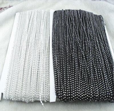 SS6 A Grade clear glass crystal 2mm Rhinestone banding white black Setting chain 4