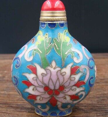 Collectible 100% Handmade Painting Copper Cloisonne Enamel Snuff Bottles 5