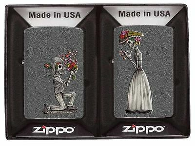Zippo 2 Piece Lighter Set, Day Of The Dead Skeleton Love, 28987,  New In Box 2