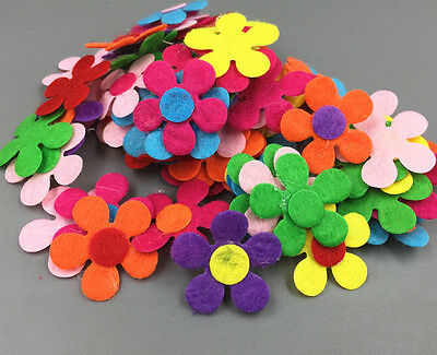 100Pcs Flowers shape Felt Appliques Mixed Colors Die Cut Cardmaking Crafts 2