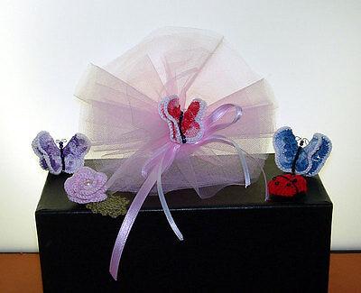 Bomboniera Farfalla Uncinetto Con Perline Per Battesimo Cerimonia