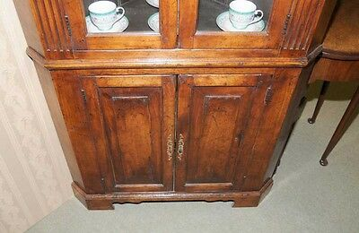 Farmhouse Cherry Wood Corner Cabinet Display Bookcase 8