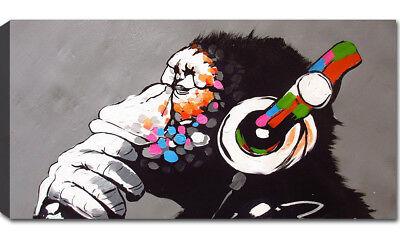Quadro Moderno Stampa su Tela cm 100x50 120x60 XXL Quadri Moderni Arredo Banksy 2