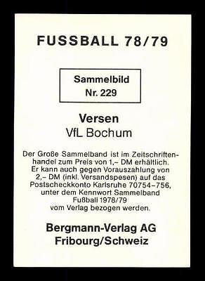 A 116111 Dieter Versen VFL Bochum Bergmann Sammelbild 1978-79 Orig Sign