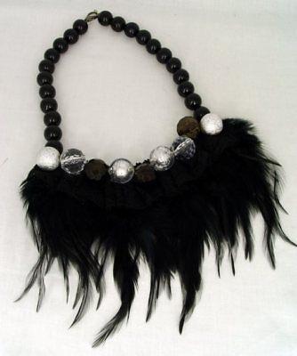 Retro Halskette echte Federn & Spitze mit Kunstperlen vintage Federcollier neu 5