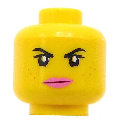 Pink Lips Grumpy /& Smile Dual Sided LEGO Female Minifigure Head Freckles