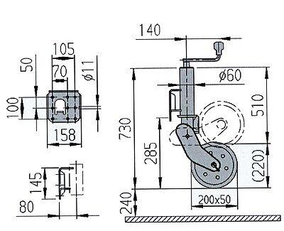 AL-KO Automatik Stützrad Schwerlast 500 kg PKW Anhänger Trailer Rad 200x50mm