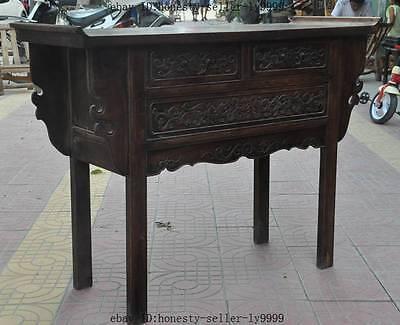 "44"" old chinese Antique Furniture Hand-carved huanghuali wood flower Tables Desk 6"