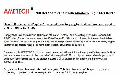 MAZDA RX8 HOT start problems? Use AMETECH ENGINE RESTORER to