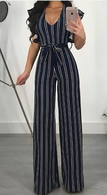 Womens Boho Stripe Holiday V Neck Boho Jumpsuit Playsuit Summer Culotte Size 6-1 4