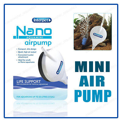 Interpet NANO AIR PUMP Compact Mini SLIM FISH TANK Small AIRPUMP OXYGEN BUBBLES