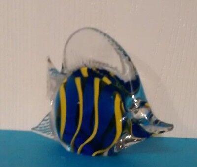Hand Blown Art Glass Tropical Fish Paperweight Figurine, Blue w/Yellow Stripes 3