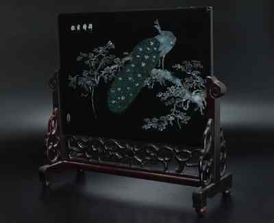 Chinese Old Screen Mother of Pearl 硯屏 /  KENBYO / W 34.2× H 30.3 [ cm ] 2