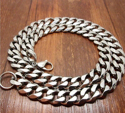 """8""""-40"""" Top 316L Stainless Steel Heavy Link Silver Curb Cuban Chain Men Necklace 10"""