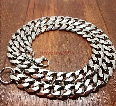 "Top 316L Stainless Steel Heavy Link Silver Curb Cuban Chain Men Necklace 8""-40"" 11"