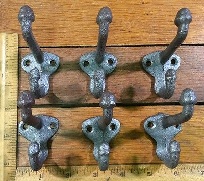 set of 6 COAT HOOKS Cast Iron Rustic Antique Vintage Style Wall Hat Rack School 3