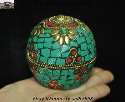 Old Tibet Tibetan Nation Bronze inlay Turquoise coral Jewelry Box Rouge boxes 5