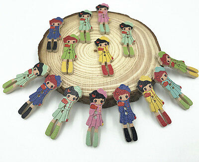 Wooden girl Buttons Mixed color 2-hole decoration Sewing Craft Scrapbooking 35mm 3